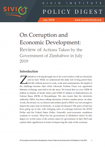 On Corruption and Economic Development- Review of Actions Taken by the Government of Zimbabwe in July 2019